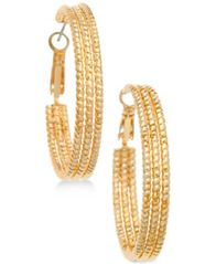 Image of GUESS Textured Hoop Earrings