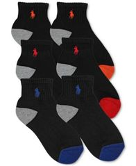 Image of Polo Ralph Lauren 6-Pk. Color-Blocked Quarter Low-Cut Socks, Little Boys (4-7) & Big Boys (8-20)