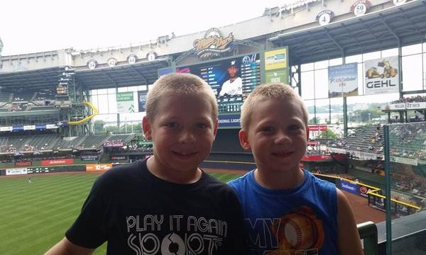 Jacob and Bryce at the Brewer game.