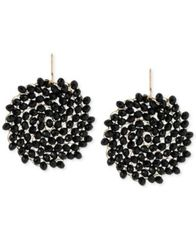 Image of Kenneth Cole New York Jet Faceted Woven Bead Round Drop Earrings