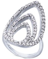 Image of I.N.C. Silver-Tone Crystal Triple-Teardrop Ring, Created for Macy's