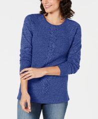 Image of Karen Scott Marled Cable-Knit Sweater, Created for Macy's