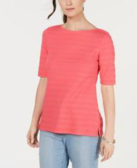 Image of Charter Club Cotton Texture-Striped Elbow-Sleeve Top, Created for Macy's