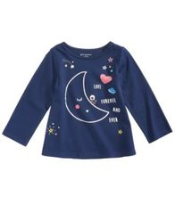 Image of First Impressions Moon-Print Cotton T-Shirt, Baby Girls, Created for Macy's