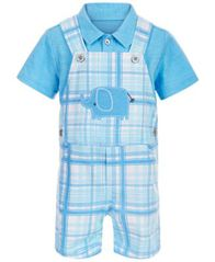 Image of First Impressions Baby Boys 2-Pc. Polo & Elephant Plaid Shortall Set, Created for Macy's