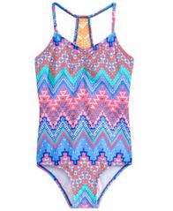 Image of Summer Crush 1-Pc. Crochet-Back Printed Swimsuit, Big Girls