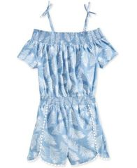 Image of Epic Threads Leaf-Print Romper, Big Girls, Created for Macy's