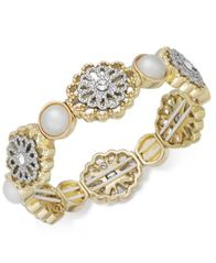 Image of Charter Club Two-Tone Crystal Filigree & Imitation Pearl Stretch Bracelet, Created for Macy's