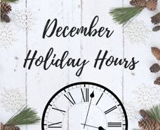 Pete Russell - December Holiday Hours!