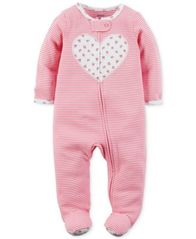 Image of Carter's 1-Pc. Stripes & Heart Footed Coverall, Baby Girls (0-24 months)