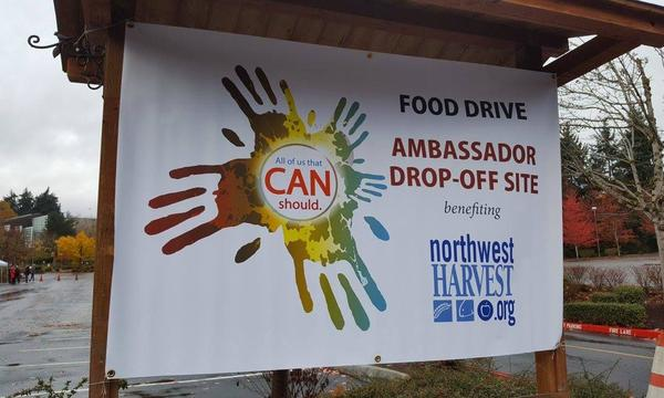 Sign for Food Drive Drop-off Site