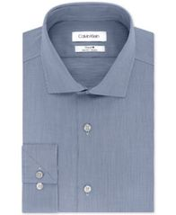Image of Calvin Klein Men's STEEL Slim-Fit Non-Iron Stretch Performance Dress Shirt