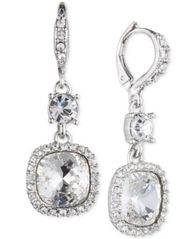 Image of Givenchy Silver-Tone Crystal Cushion Drop Earrings