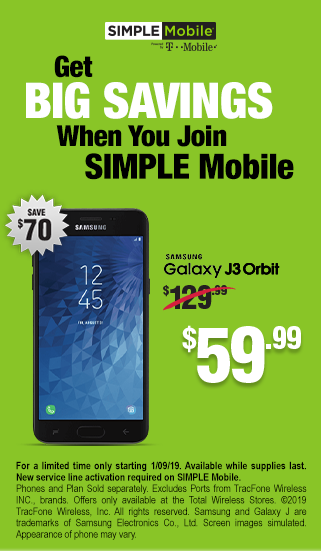 Get big savings when you join SIMPLE Mobile - Samsung Galaxy J3 Orbit