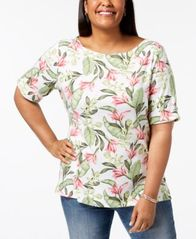 Image of Karen Scott Plus Size Cotton Printed Elbow-Sleeve Top, Created for Macy's