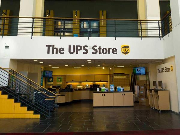 front of the ups store on 501 S College St