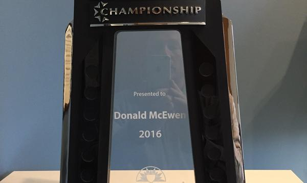 Championship Award presented to Donald Mcewen 2016