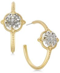 Image of Charter Club Two-Tone Crystal Cluster Open Hoop Earrings, Created for Macy's