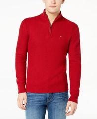 Image of Tommy Hilfiger Men's Quarter-Zip Waffle Knit Sweater