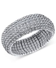 Image of I.N.C. Silver-Tone Crystal Stretch Bracelet, Created for Macy's