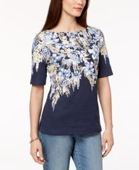 Image of Karen Scott Cotton Elbow-Sleeve Top, Created for Macy's
