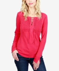 Image of Lucky Brand Cotton Lace-Up Thermal Top