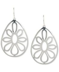 Image of Touch of Silver Openwork Flower Teardrop Earrings in Silver-Plated Metal