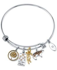 Image of Unwritten Mom Charm Bangle Bracelet in Stainless Steel & Tri-Tone