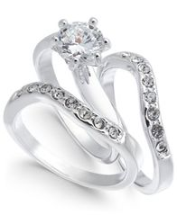 Image of Charter Club Silver-Tone Crystal Wavy Ring, Created for Macy's