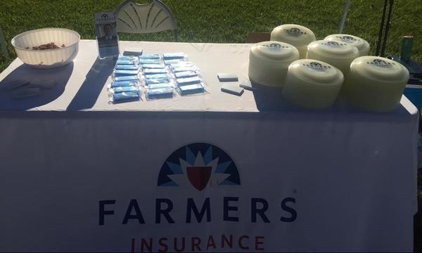 A table is covered with Farmers swag