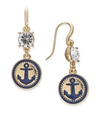 Image of Charter Club Gold-Tone Crystal & Enamel Anchor Drop Earrings, Created for Macy's