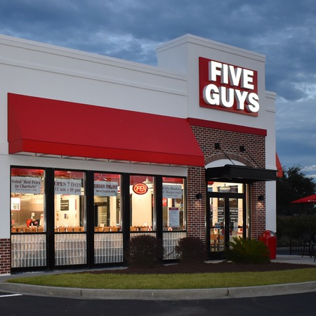 Photo of the store front of the Five Guys at 8715 HWY 17 Bypass South in Myrtle Beach, SC.