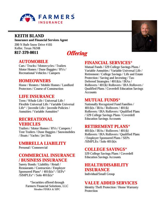 Some of the services we offer at Keith Bland Insurance Agency.