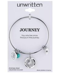 Image of Unwritten Journey Compass Charm and Manufactured Turquoise (8mm) Adjustable Bangle Bracelet in Stain