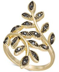 Image of I.N.C. Gold-Tone Hematite Crystal Leaf Wrap Ring, Created for Macy's