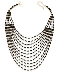 Image of Thalia Sodi Gold-Tone Multi-Row Black Bead Bib Necklace, Created for Macy's