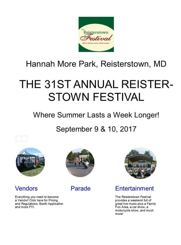 Join Us at the Reisterstown Festival September 9th & 10th and get a free Child ID kit