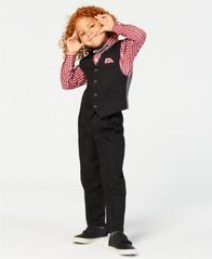 Image of Nautica Little Boys 4-Pc. Textured Vest, Check-Print Shirt, Pants & Bowtie Set