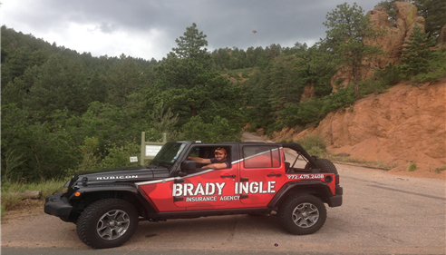 The Brady Ingle Insurance Jeep in Colorado Springs on Gold Camp Rd.