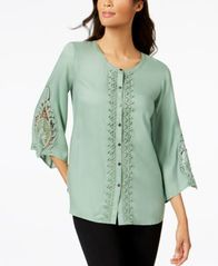 Image of JM Collection Lace-Trim Blouse, Created for Macy's