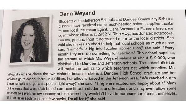 Newspaper clipping on agent giving school supplies to school