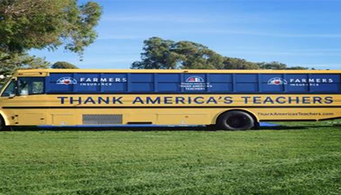 Farmers school bus supporting local teachers