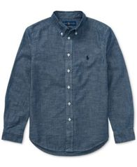 Image of Ralph Lauren Chambray Cotton Shirt, Big Boys