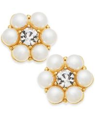 Image of Charter Club Gold-Tone Crystal & Imitation Pearl Flower Stud Earrings, Created for Macy's