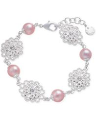 Image of Charter Club Silver-Tone Crystal Filigree & Imitation Pearl Flex Bracelet, Created for Macy's