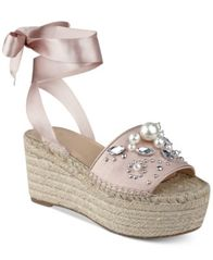 Image of GUESS Women's Razzle Embellished Lace-Up Espadrilles