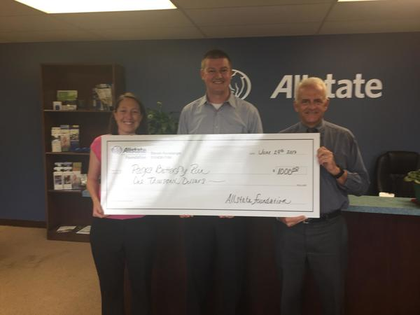 Steven Hunsberger - Hunsberger Insurance Agency is awarded a $1,000 grant from the Allstate Foundation for Paige's Butterfly Run