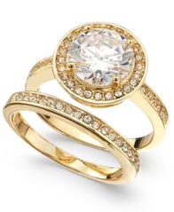 Image of Charter Club Gold-Tone 2-Pc. Set Crystal Halo Ring & Band, Created for Macy's