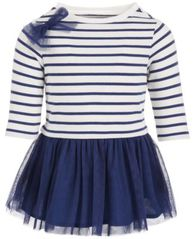 Image of First Impressions Baby Girls Stripe & Tulle Dress, Created for Macy's