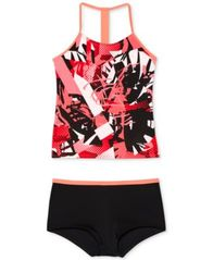 Image of Nike 2-Pc. Printed T-Back Tankini Swimsuit, Big Girls